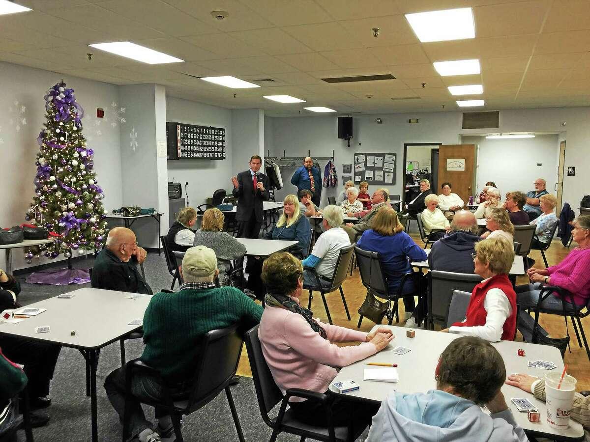 U.S. Sen. Richard Blumenthal warns Torrington seniors about holiday season phone scams Friday afternoon at the Sullivan Senior Center.