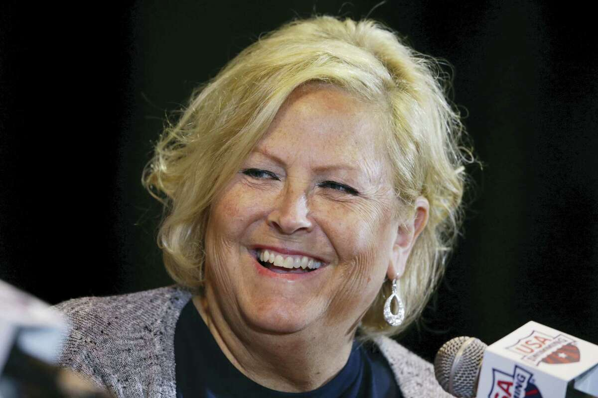Shirley Babashoff speaks during a news conference at the U.S. Olympic swimming trials in Omaha, Neb., on Friday.