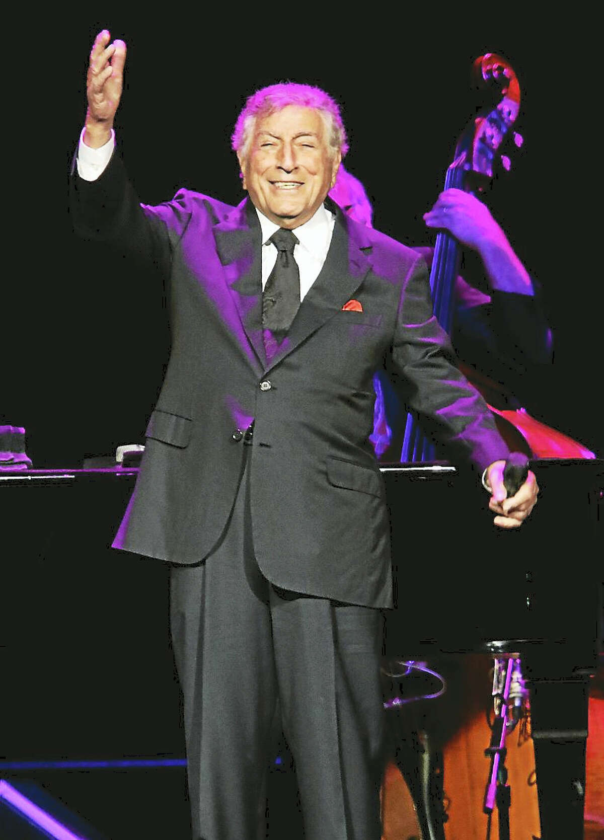 Photo by John AtashianTony Bennett greets a packed house full of fans at the start of his concert at the Mohegan Sun Arena April 1 in Uncasville. The legendary singer of traditional jazz and pop standards, big band music and show tunes, now 89, thoroughly entertained the crowd with his beautiful voice and stage presence. To view more entertainment coming to the Mohegan Sun Casino you can visit www.mohegansun.com.