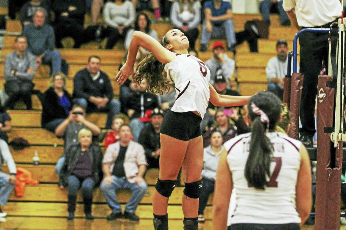 Torrington's Carissa Carbone showed Weston the smallest of the Raiders is also one of their most powerful hitters in a Torrington Class M second-round win at Torrington High School Wednesday night.