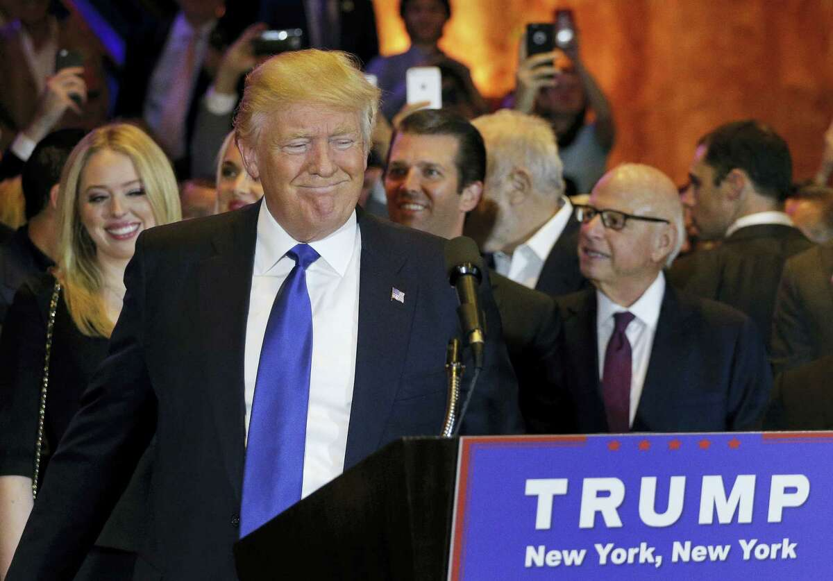 Republican presidential candidate Donald Trump prepares to speak during a New York primary night campaign event Tuesday, April 19, 2016, in New York.