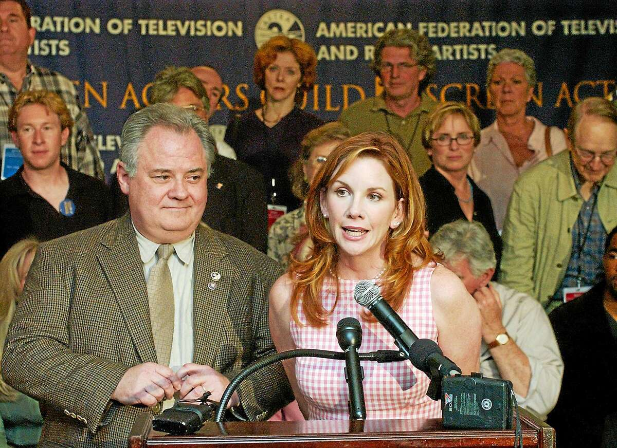 Melissa Gilbert, right, president of the Screen Actors Guild, and John Connolly, president of the American Federation of Television and Radio Artists, left, answer questions during a news conference Tuesday, July 1, 2003, in Los Angeles.