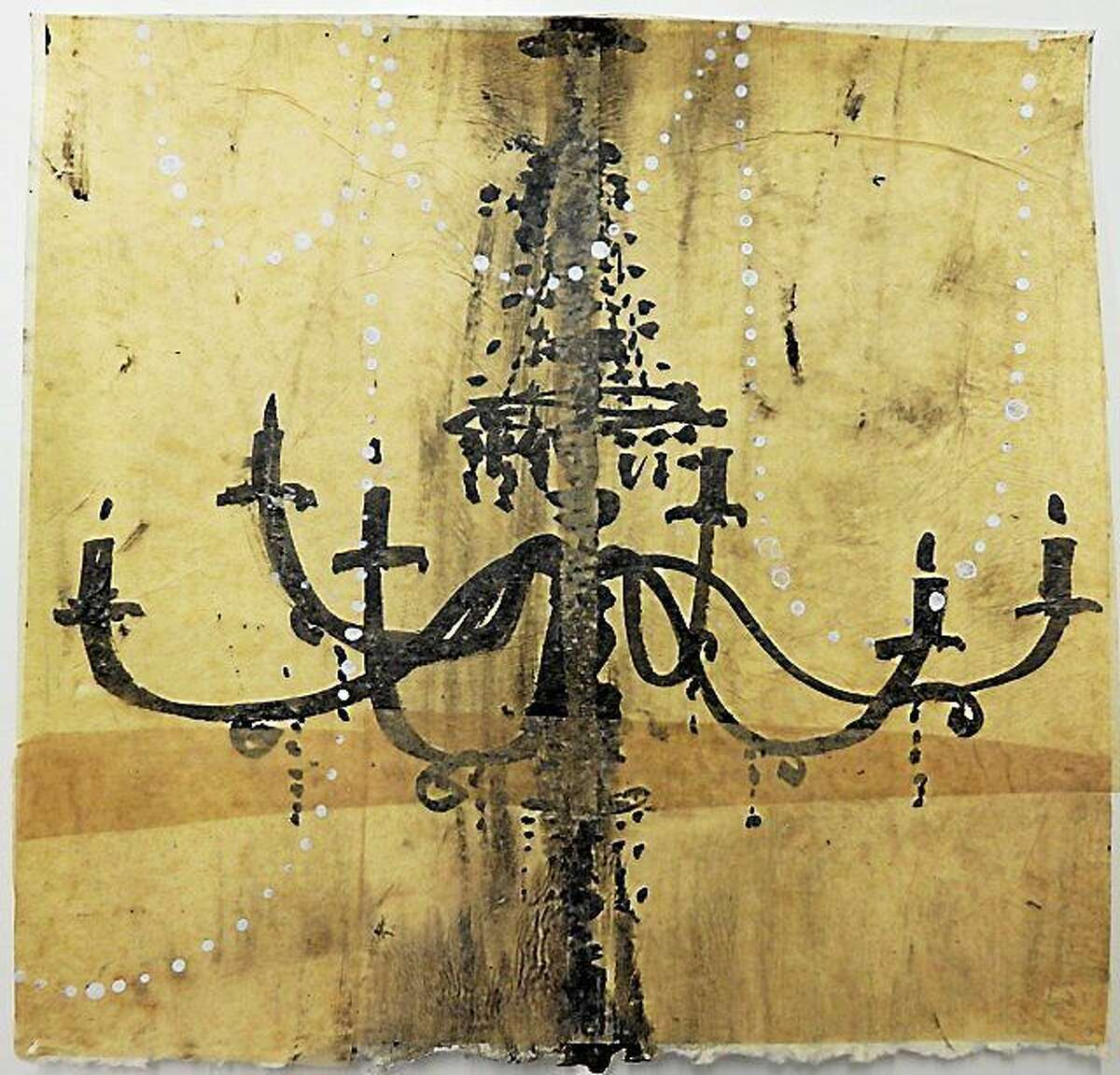 """Contributed photos Janice La Motta, """"Chandelier Study no. 40,"""" 2014, ink, gesso & chine colle, 7 ½ x 7 ½ inches, is part of Five Points Gallery's new exhibit, opening April 23 in Torrington."""