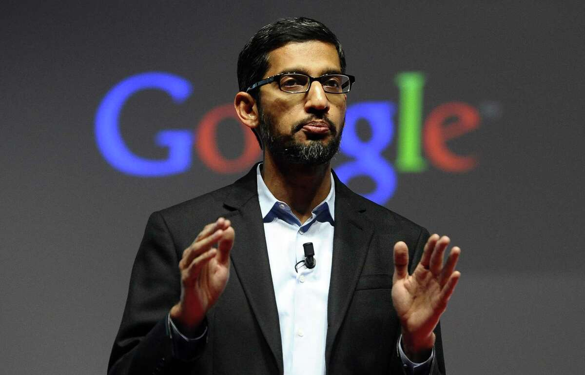In this Monday, March 2, 2015 photo, Sundar Pichai, senior vice president of Android, Chrome and Apps, talks during a conference during the Mobile World Congress.