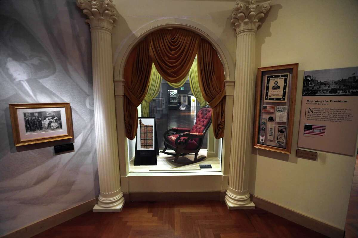The chair in which President Abraham Lincoln was assassinated on April 14, 1865 is shown on display at the Henry Ford Museum in Dearborn, Mich.