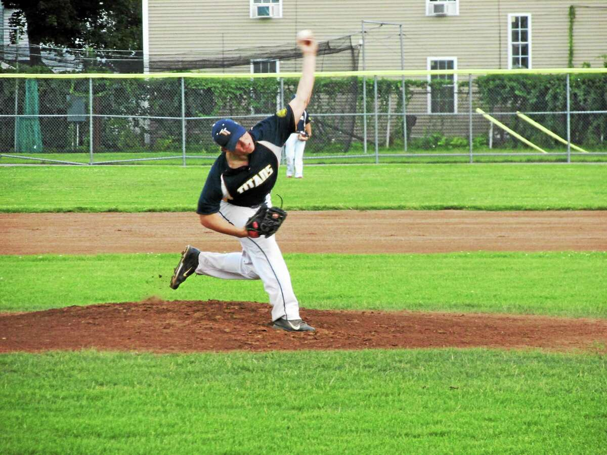 Torrington starter Colby Tollison went five and two-thirds strong innings of a pitcher's duel long before the roof fell in on the Titans Sunday night in the 10th inning.