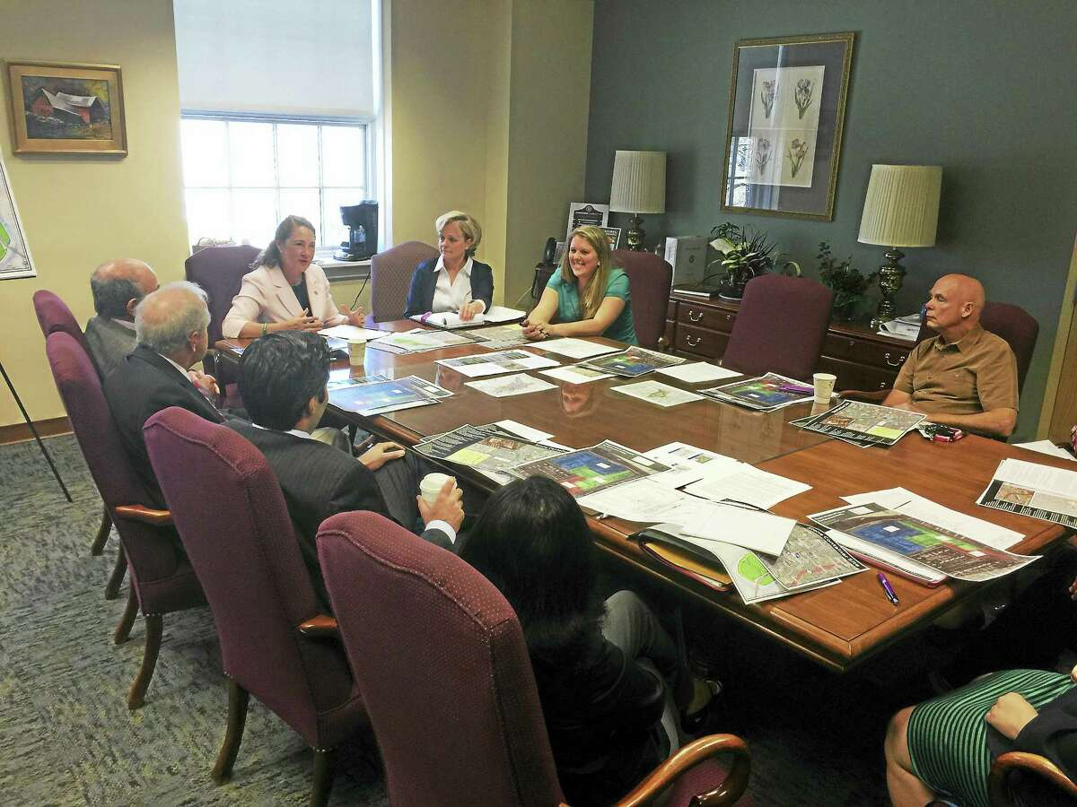 Congresswoman Elizabeth Esty met with Mayor Elinor Carbone and other city and state officials Monday to discuss brownfield and economic development in Torrington. Photo/ Ben Lambert