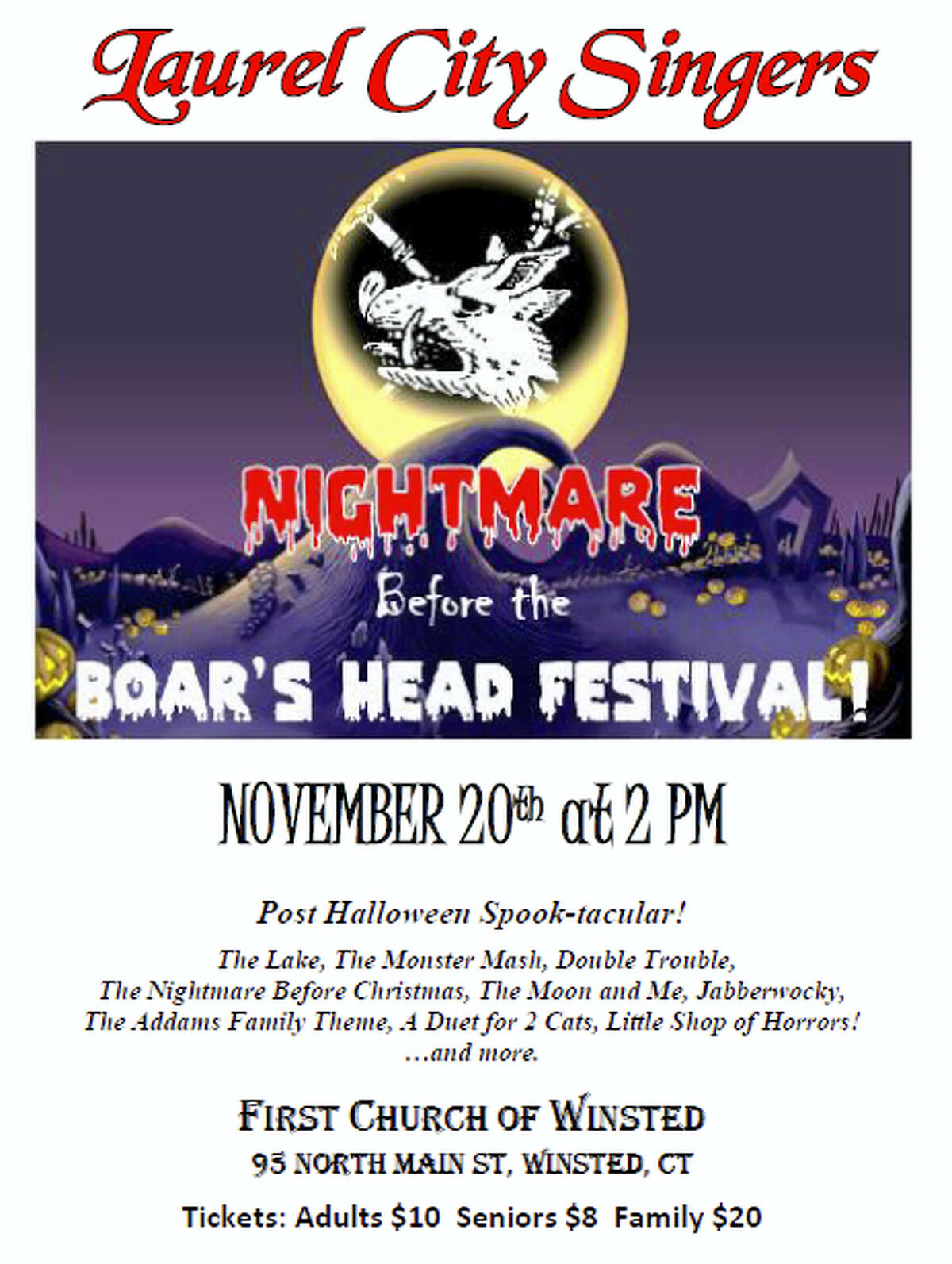 Contributed photoLaurel City Singers are hosting a post Halloween concert on Sunday, Nov. 20 in Winsted.