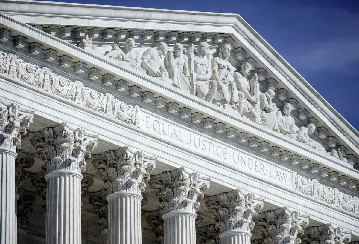 The columns and west pediment of the U.S. Supreme Court building are seen in Washington on April 12, 2016.