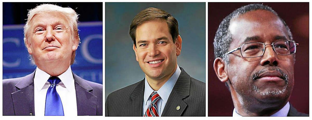 From left: Republican presidential candidates Donald Trump, Marcio Rubio and Ben Carson