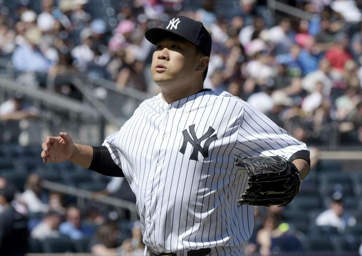 Yankees pitcher Masahiro Tanaka went seven innings to pick up the win on Sunday.