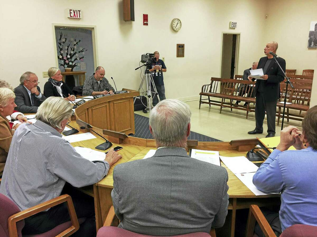 Ben Lambert - The Register CitizenFreeman Burr, project manager with the Connecticut Department of Education, speaks with the Winsted Board of Selectmen Monday.