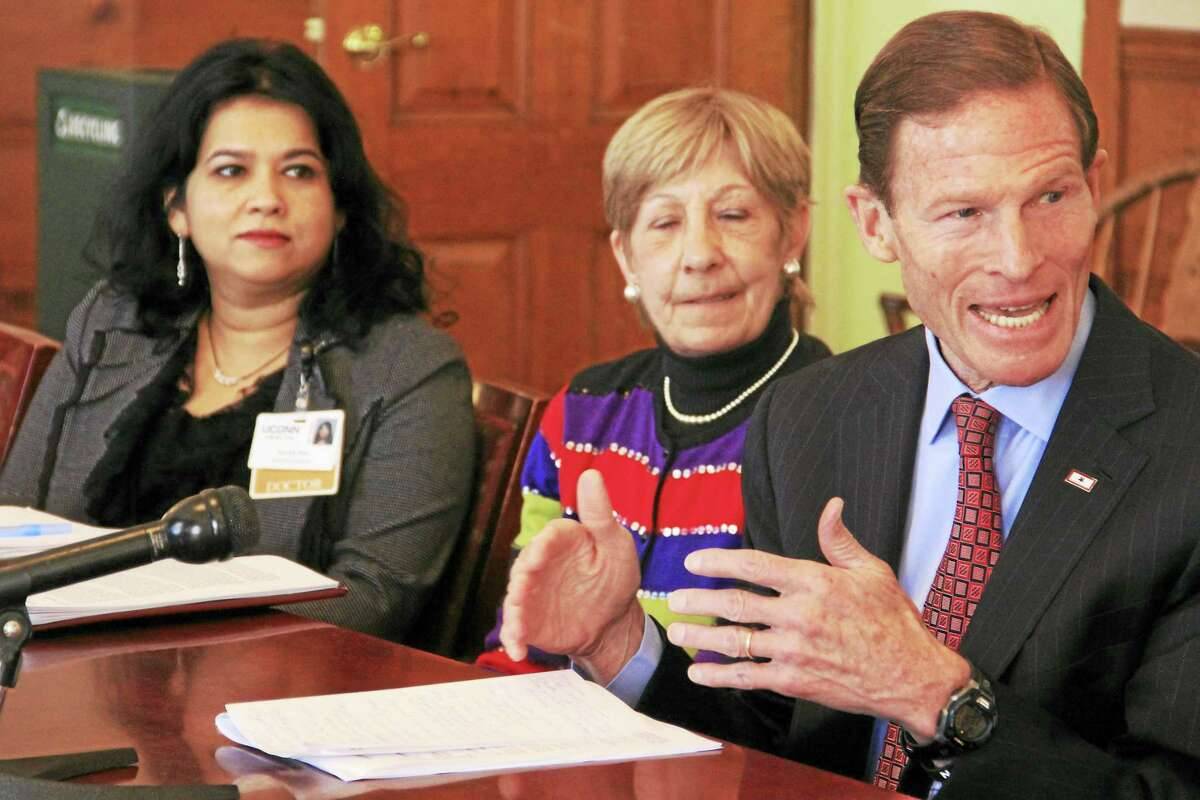 U.S. Sen. Richard Blumenthal speaks during a roundtable discussion on the state's opioid epidemic with medical professionals at the Yale School of Medicine on Feb. 26, 2016 in New Haven.