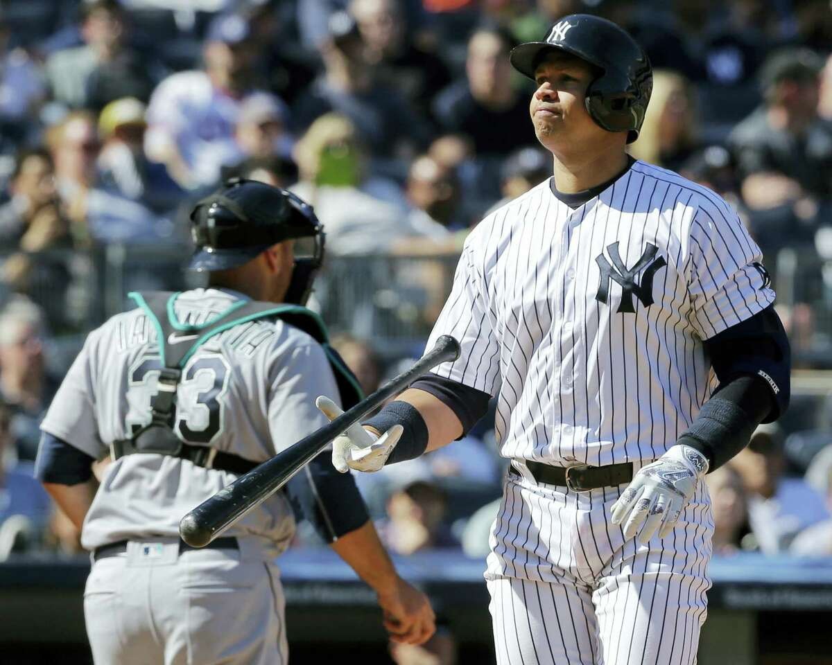 Alex Rodriguez flips his bat after striking out during the sixth inning on Saturday.