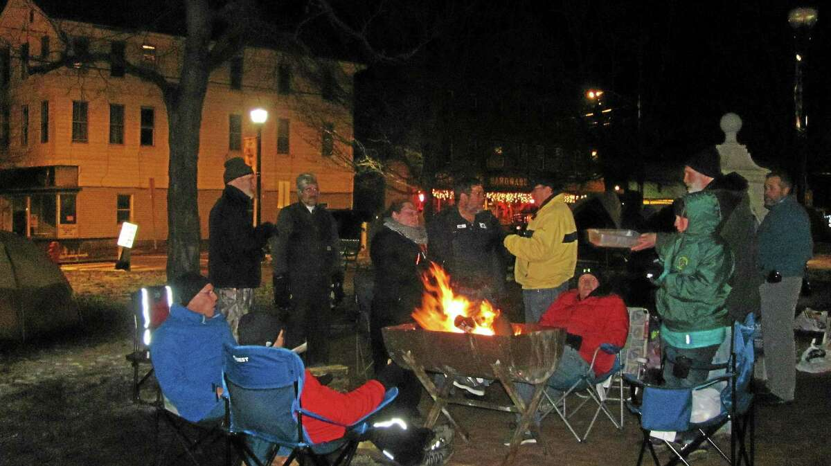 About 40 people came together in Winsted's East End Park for Freezin' for a Reason in 2014, an event to raise awareness of homelessness and raise funds for the Winsted YMCA homeless shelter.
