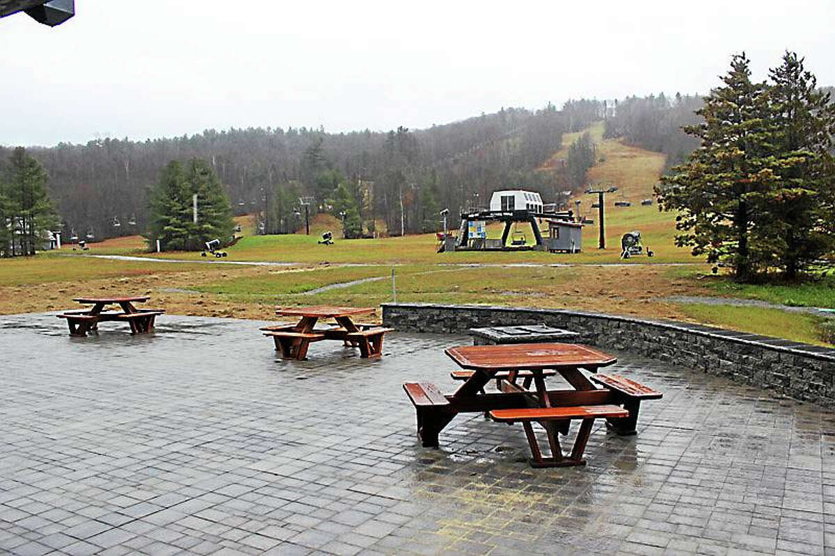 The heated patio, complete with fire pit, is one of the many improvements at Mohawk Mountain in Cornwall.