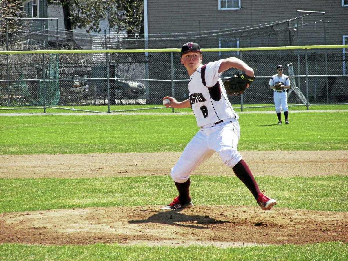 Photo by Peter Wallace Torrington starter Jake Reynolds was one of six pitchers on the mound for the Raiders in North Haven's 5-4 win Saturday afternoon. The Indians used four pitchers.