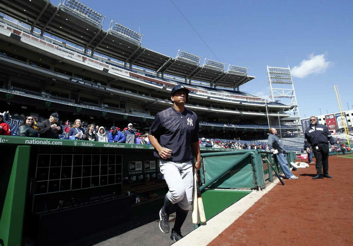 New York Yankees third baseman Alex Rodriguez takes the field for batting practice before a spring training game at Nationals Park on Saturday in Washington.