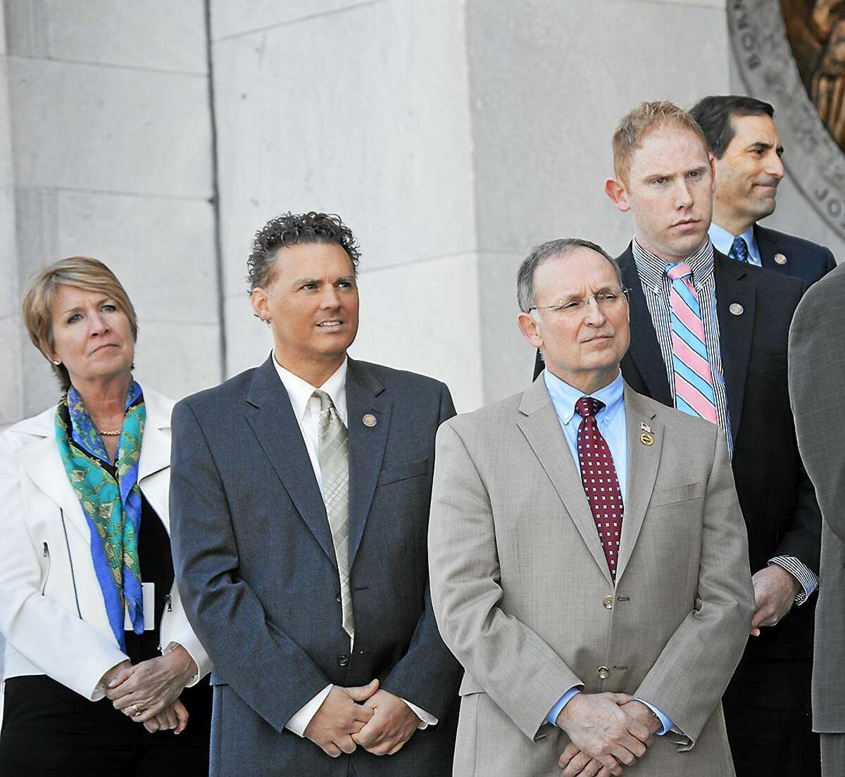 State Sen. Henri Martin, front, at a veterans rally at the state Capitol.
