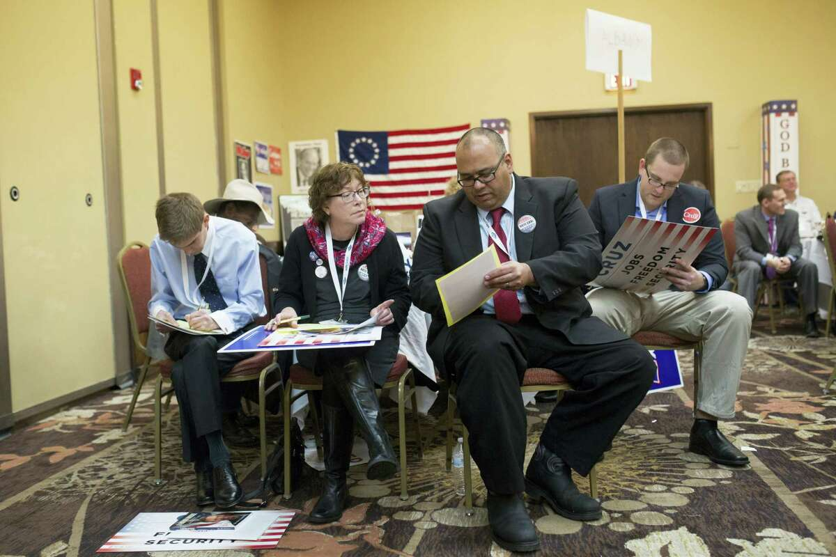Delegates from Albany county cast their votes for National Convention delegate representation during the Wyoming GOP Convention on Saturday, April 16, 2016, at the Parkway Plaza Hotel and Convention Centre in Casper, Wyo.