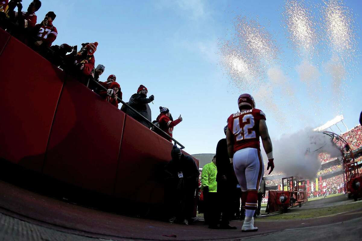 Chiefs fullback Anthony Sherman waits to be introduced before a game against the San Diego Chargers on Dec. 28 in Kansas City, Mo.