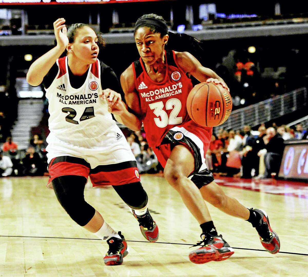 Crystal Dangerfield, right, will be a freshman at UConn next season.
