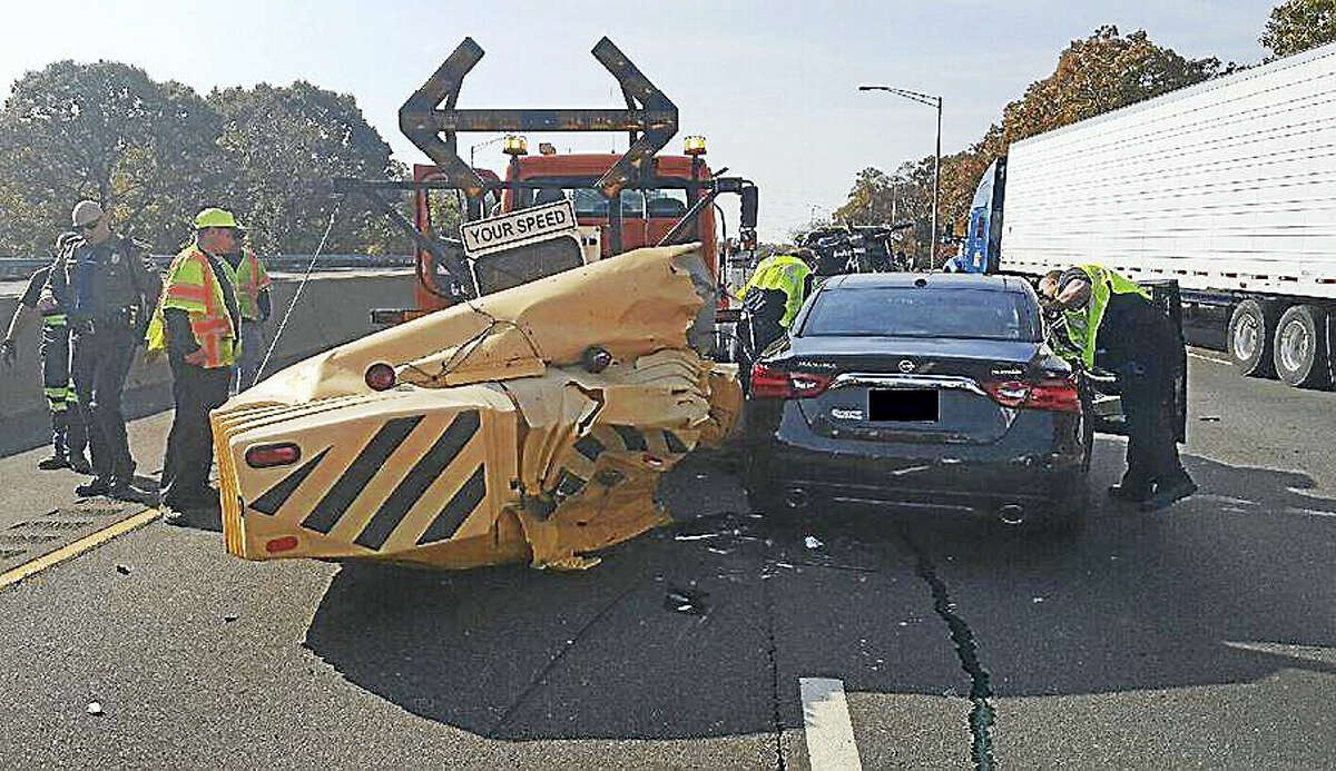 A state Department of Transportation crash truck was struck by a driver on Interstate 91 southbound near Exit 34 Wednesday morning.