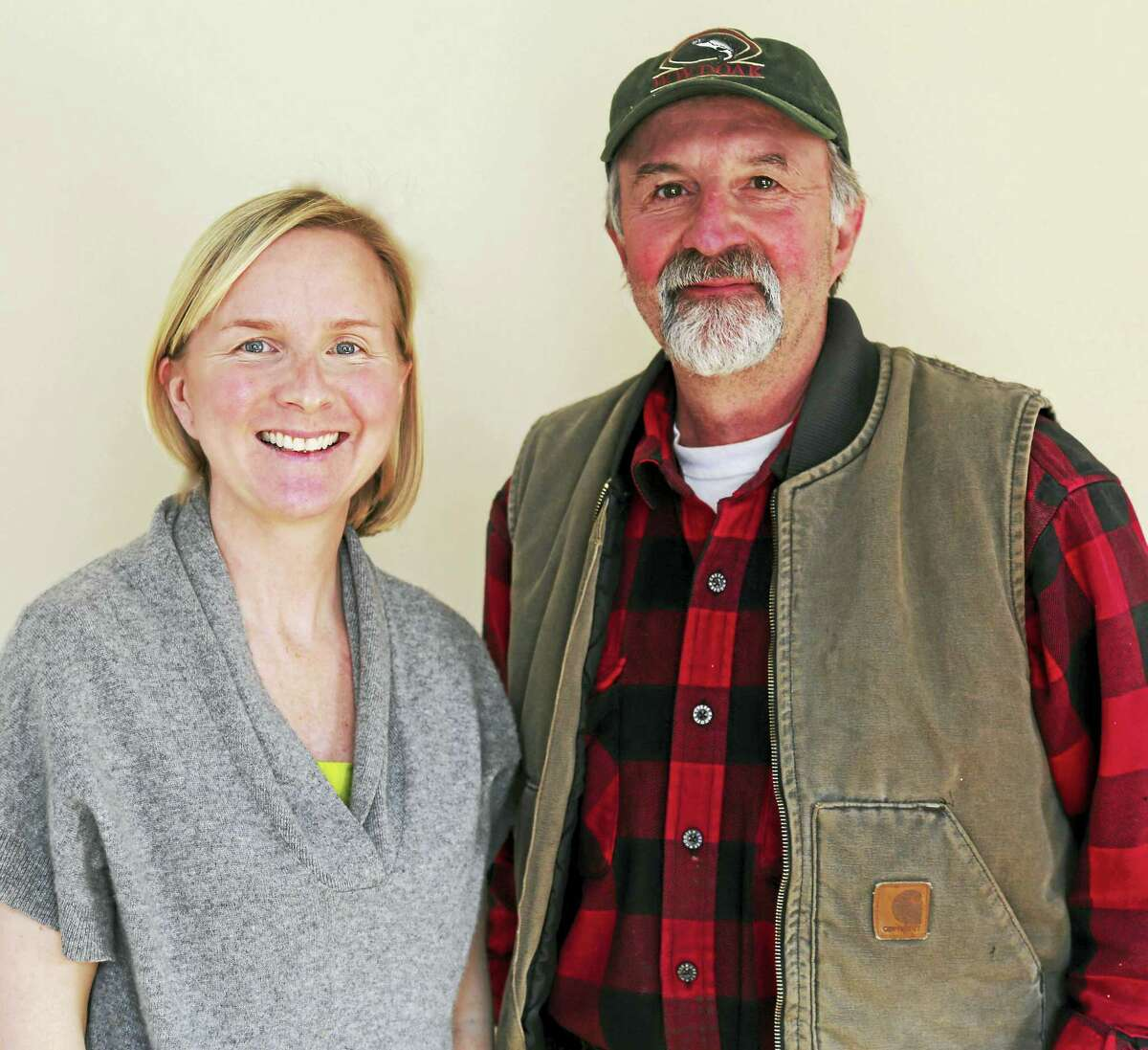 Weantinoge's Executive Director Catherine Rawson, left, and Robert Nicholas, president of the Harcourt Foundation.