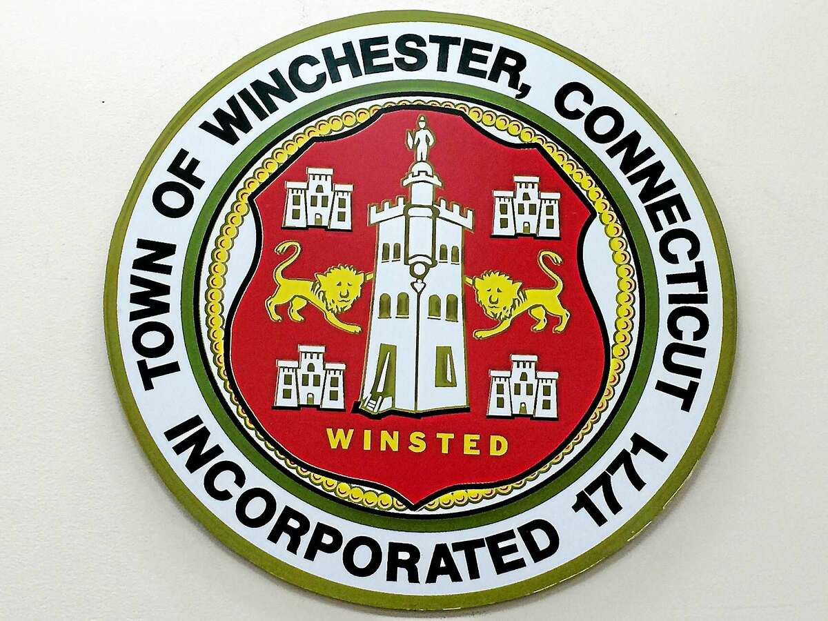 The Winchester/Winsted town seal, displayed on the wall at Town Hall.