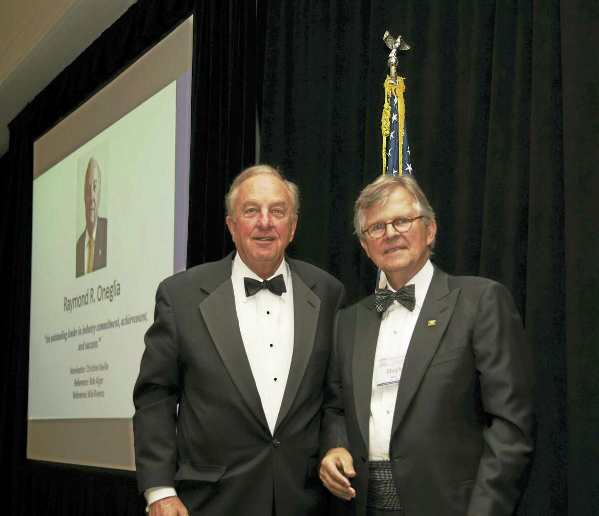 Contributed photoRay Oneglia, left, is joined by National Academy of Construction Hugh Wrice.