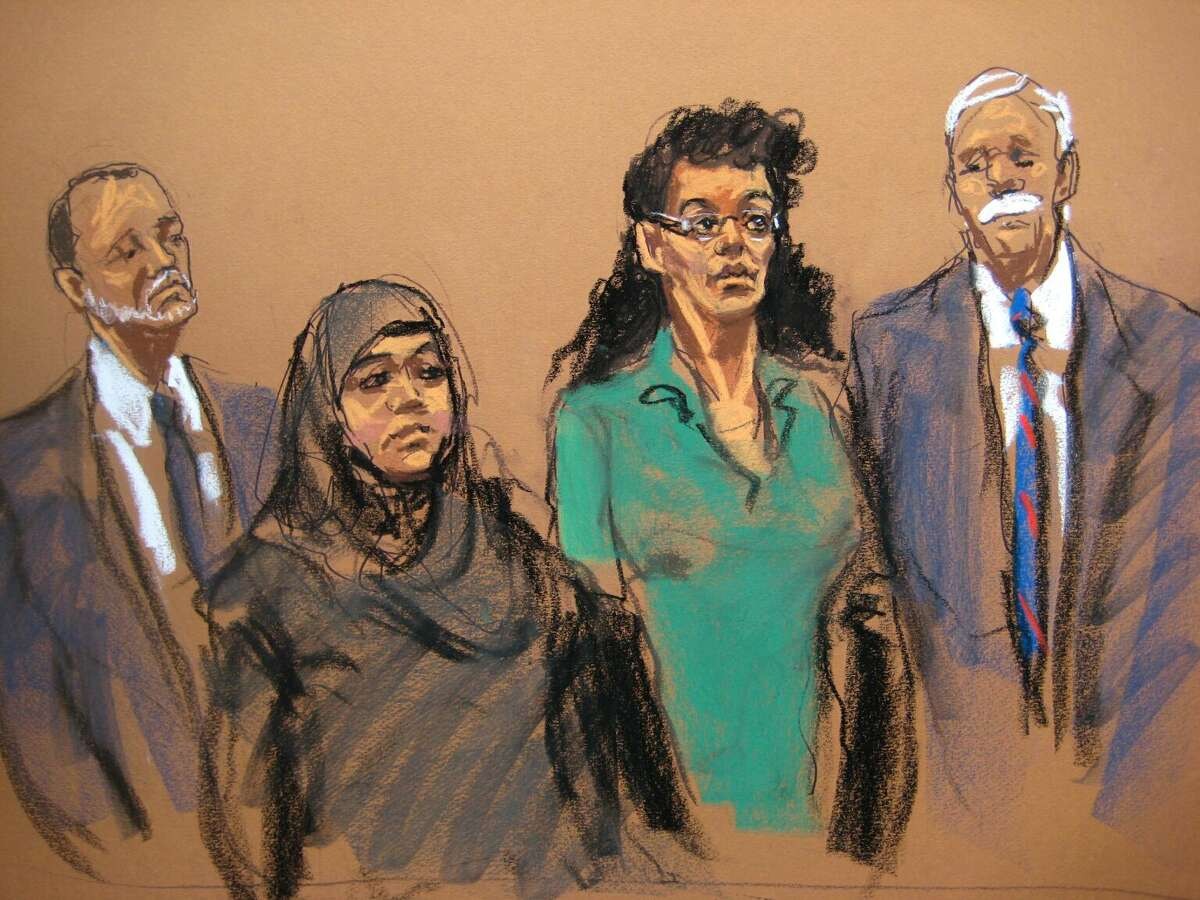 In this courtroom sketch, defendants Noelle Velentzas, center left and Asia Siddiqui, center right, appear in federal court with their attorneys, Thursday, April 2, 2015, in New York. The two women were arrested Thursday on charges they plotted to wage violent jihad by building a homemade bomb and using it for a Boston Marathon-type terror attack.
