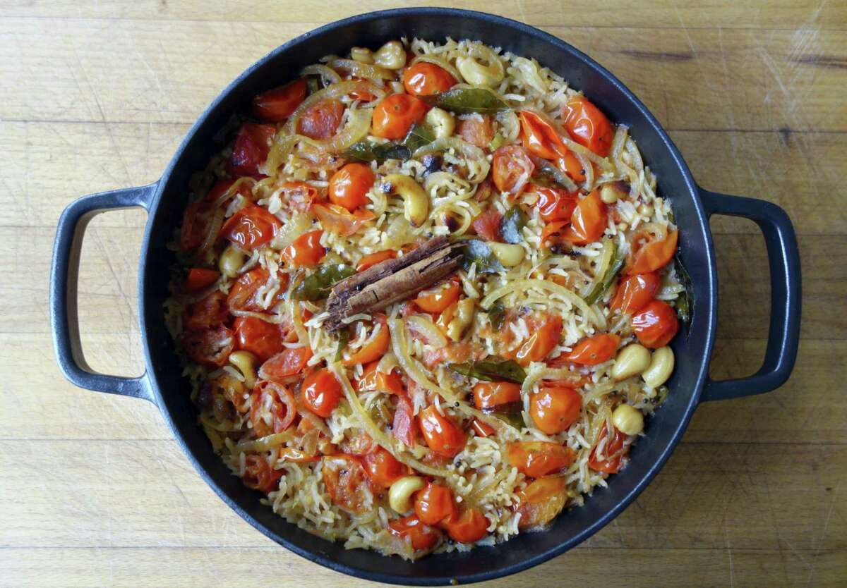 South Indian tomato and coconut rice is perfect for a Labor Day cookout.
