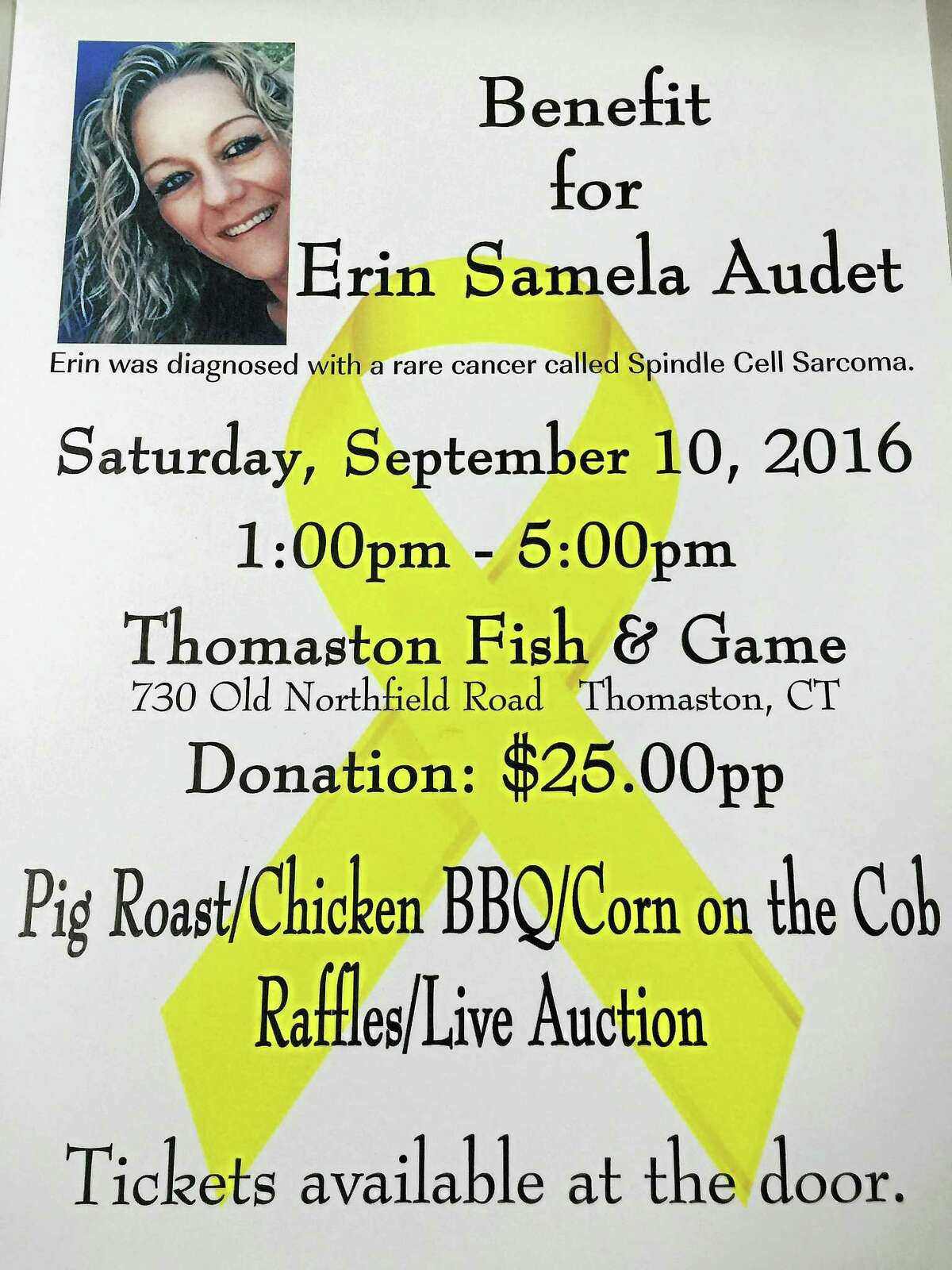 Contributed image courtesy ot Thomaston Fish & Game The flyer for the upcoming benefit for Erin Samela Audit, a local woman diagnosed with cancer.