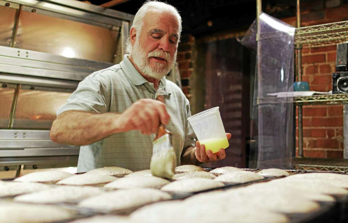 Niles Golovin at Bantam Bread Company, doing what he's done for 20 years.