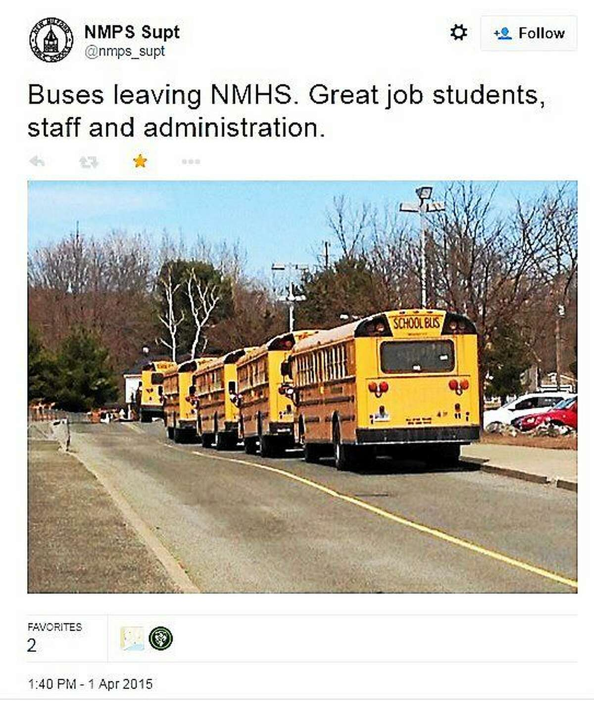 This tweet was sent Wednedsay afternoon by Superintendent JeanAnn Paddyfote after New Milford High School was evacuated and students sent home on buses following a bomb threat against the school.