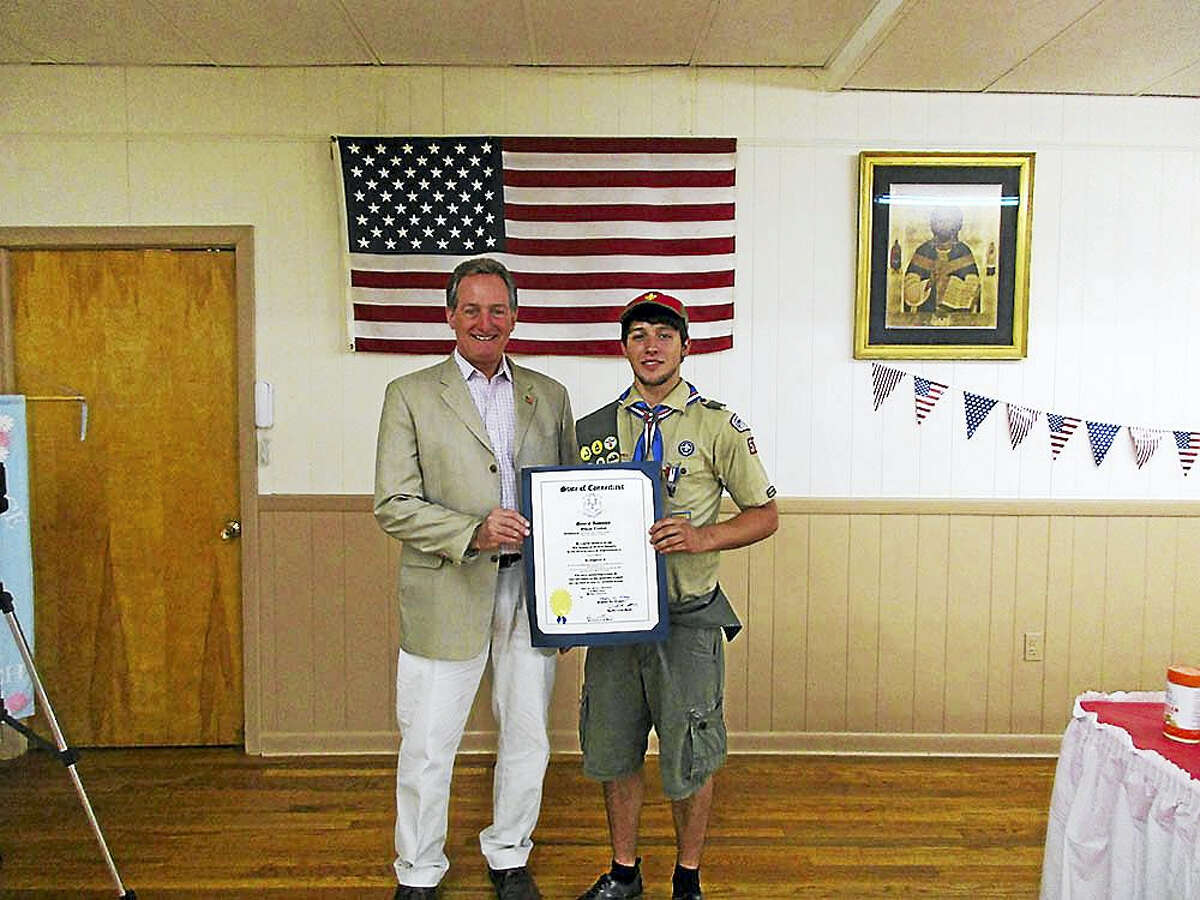 Contributed photoState Rep. John Piscopo (R-76) joined Thomaston Boy Scout Troop 53, along with family and guests to honor David Schriver of Thomaston, who earned the rank of Eagle Scout.
