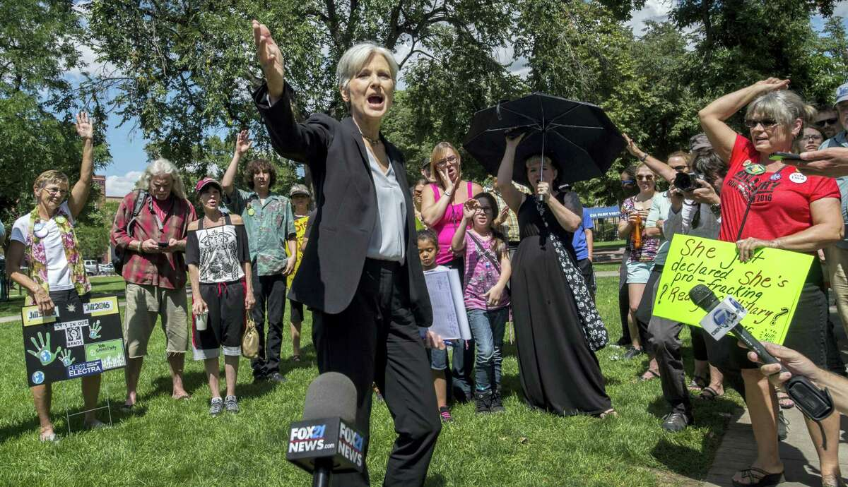 Green Party presidential candidate Jill Stein speaks to supporters during a rally Saturday in Acacia Park, in Colorado Springs, Colo. After the rally she marched with supporters to the All Souls Unitarian Universalist Church where she spoke.