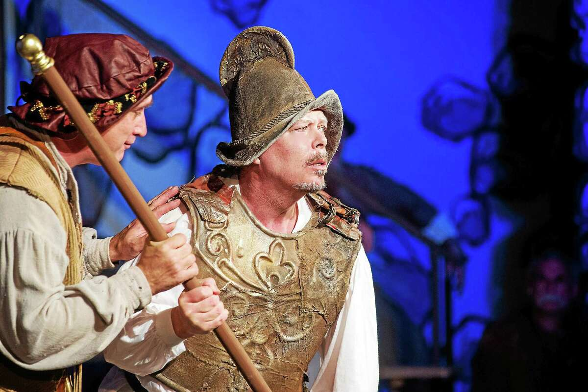 "Photos by r Bryan Haeffele Sancho (Russell Sawicki) and Don Quixote (Thomas Camm) in ""Man of La Mancha."""