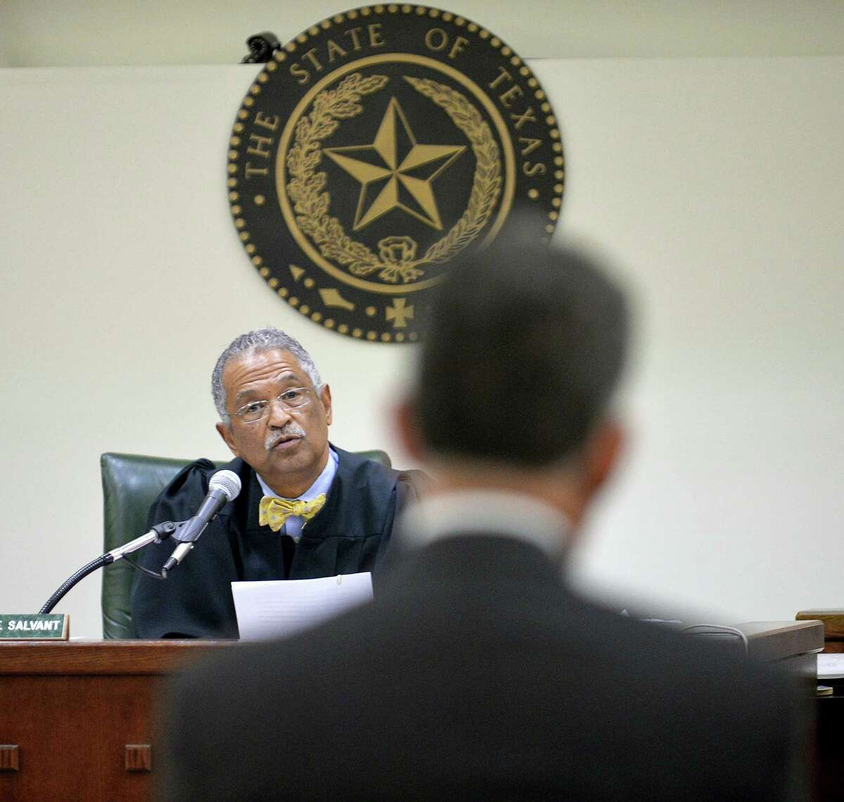 """Judge Wayne Salvant addresses Tarrant County Assistant Criminal District Attorney Richard Alpert during Ethan Couch hearing at Tim Curry Justice Center in Fort Worth, Texas, Wednesday, April 13, 2016. Salvant ordered Couch, the Texas teenager who used an """"affluenza"""" defense in a fatal drunken-driving wreck, to serve nearly two years in jail."""