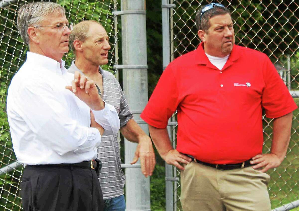 CONTRIBUTED PHOTO From left, Commissioner James P. Rederk, Winchester Director of Public Works James Rollins, and state Rep. Jay Case, on a recent tour of Winsted roads.