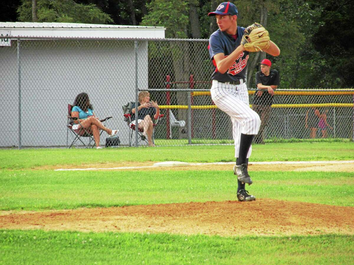 Peter Wallace ó Register Citizen photo Torrington pitcher P.J. Kilmartin weathered four Sports Palace errors in a first-game loss to Amenia in the Connie Mack league's best-of-three championship series Monday night in Amenia.