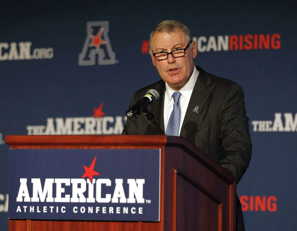 American Athletic Conference Commissioner Mike Aresco speaks during media day on Tuesday in Newport, R.I.
