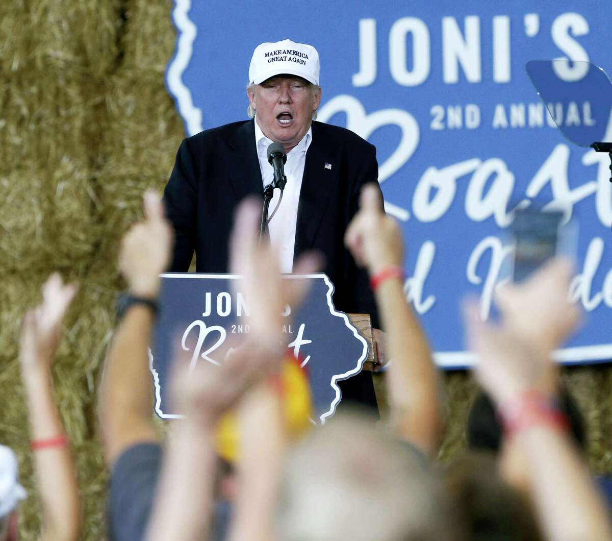 Republican presidential candidate Donald Trump speaks at Joni's Roast and Ride during a fundraiser at the Iowa State Fairgrounds, in Des Moines, Iowa on Aug. 27, 2016.
