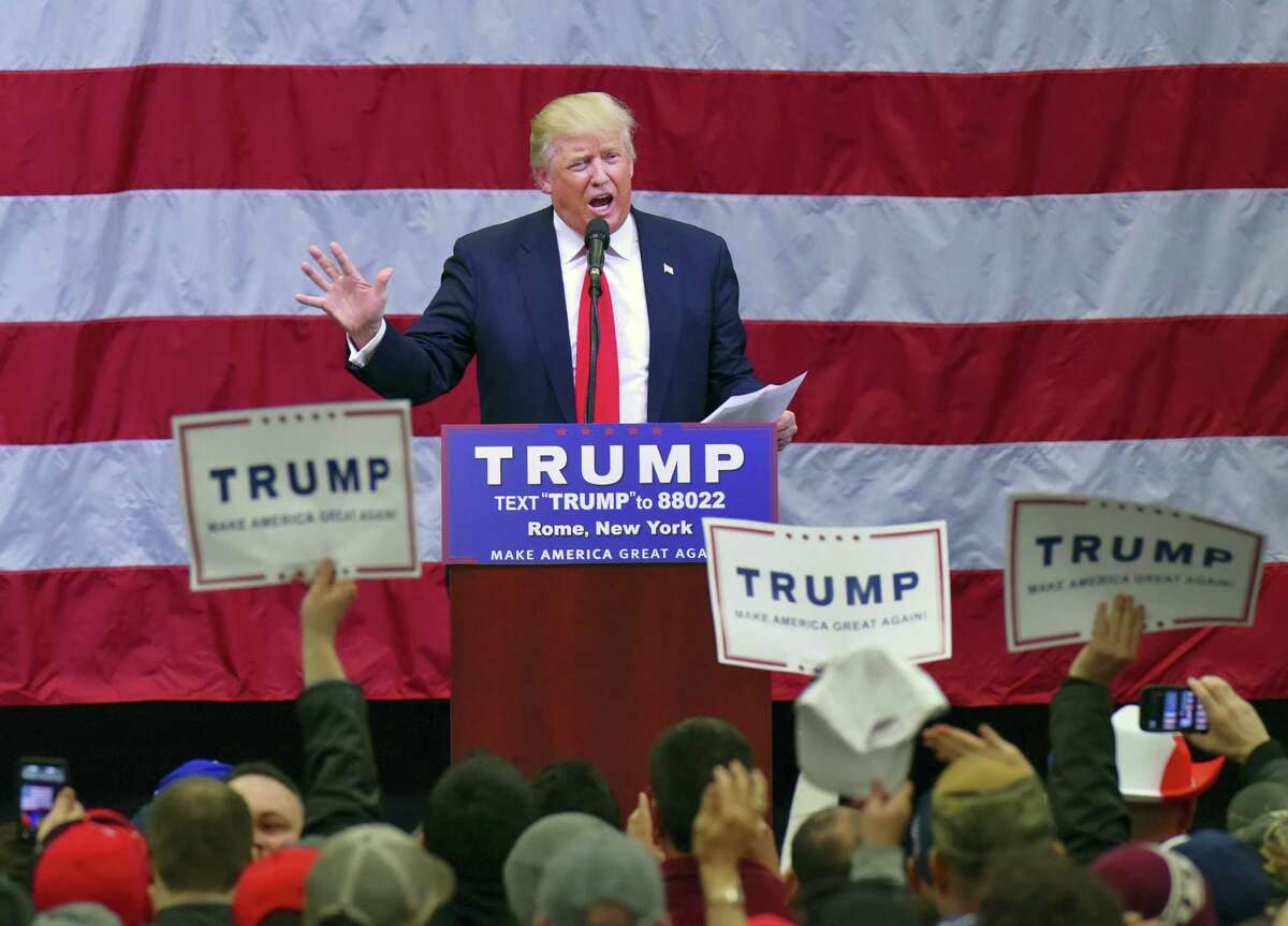 Republican presidential candidate Donald Trump visits Griffiss International Airport during a rally to speak to supporters, Tuesday, April 12, 2016 in Rome, N.Y. Trump is scheduled to appear Friday in Hartford for a rally.