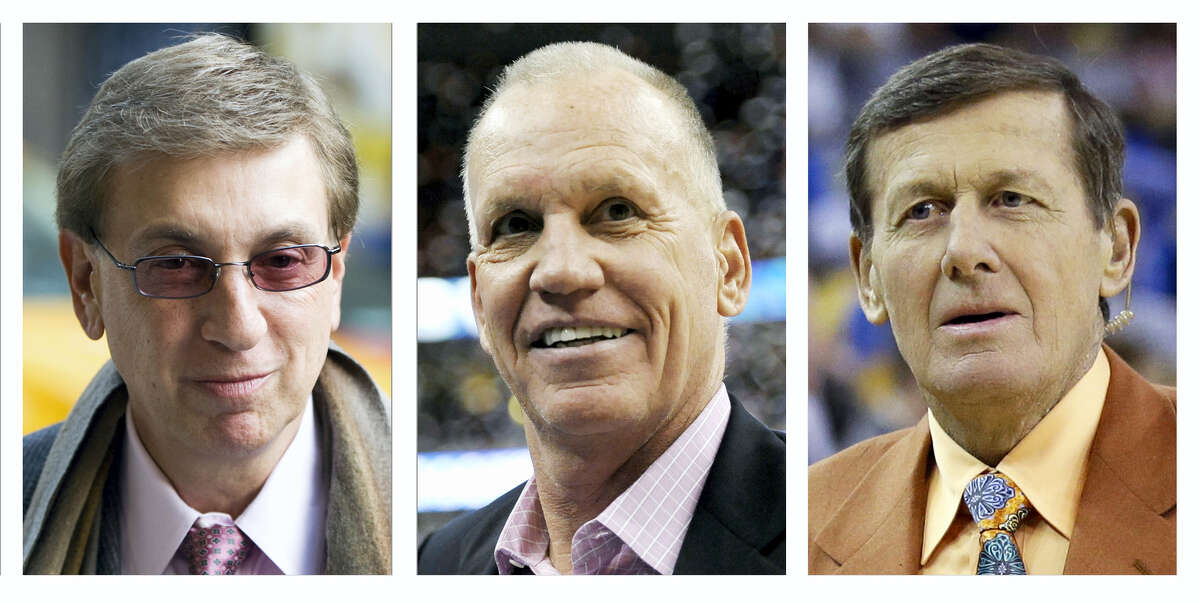 This combination of file photo shows from left, Marv Albert, Doug Collins and Craig Sager. Albert will call Olympic basketball this summer for the first time since 1996. Albert is set to be joined by analyst Collins and reporter Sager on the U.S team's games.