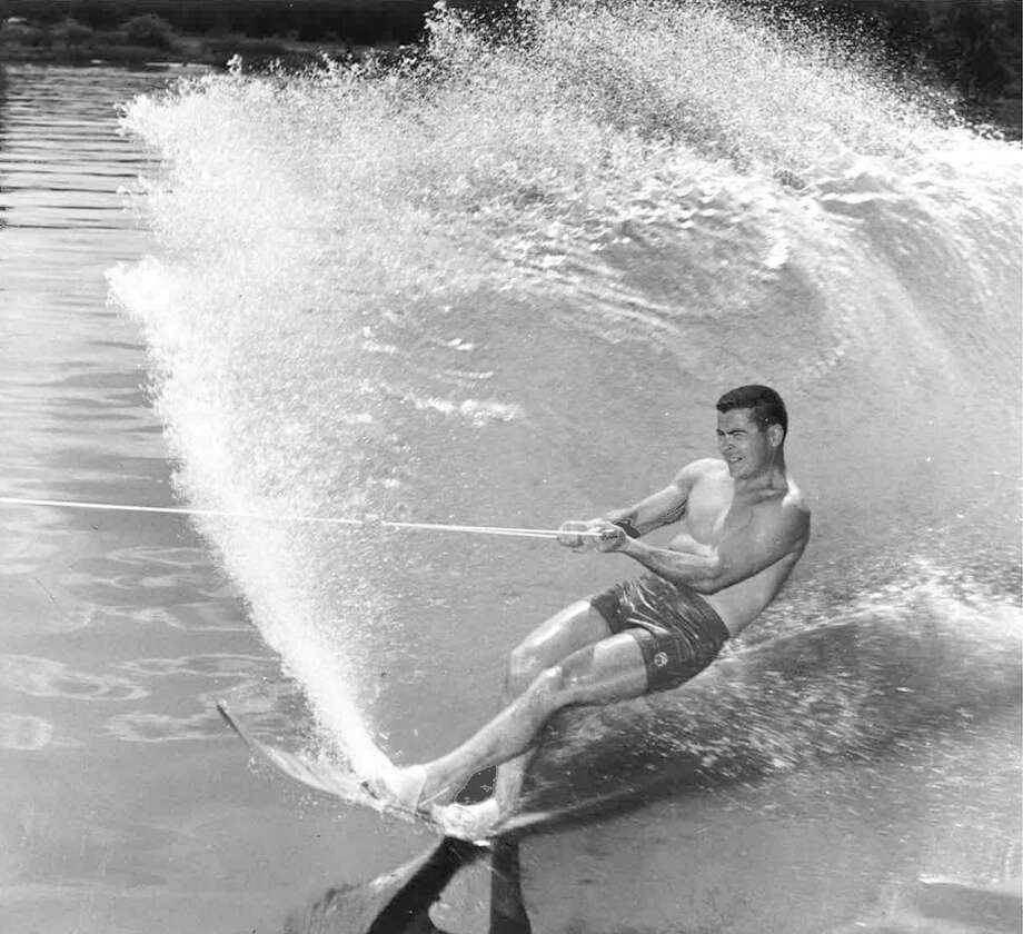 Dairy store entrepreneur extraordinaire Stew Leonard displays the form that made him a North American water ski champion in 1956. Photo: Contributed Photo / Stamford Advocate Contributed