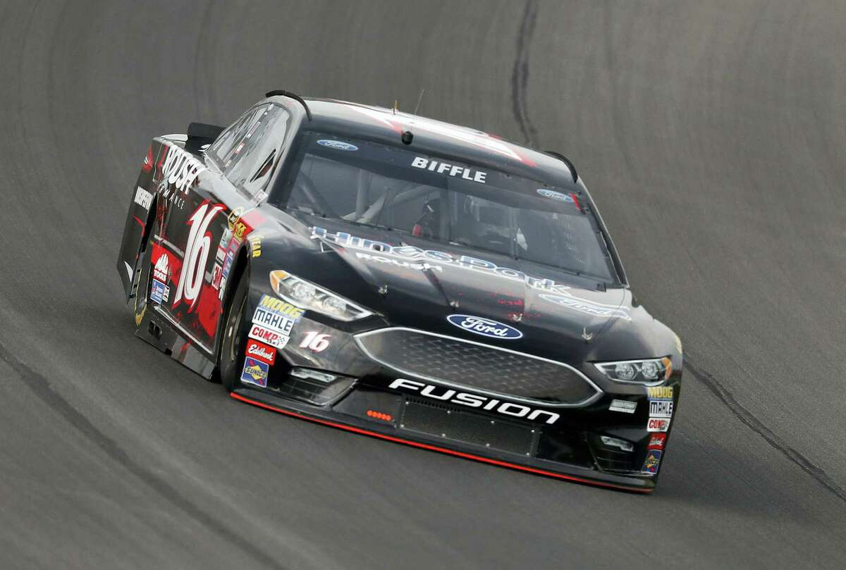 Greg Biffle practices on Saturday for the NASCAR Sprint Cup race at Michigan International Speedway.