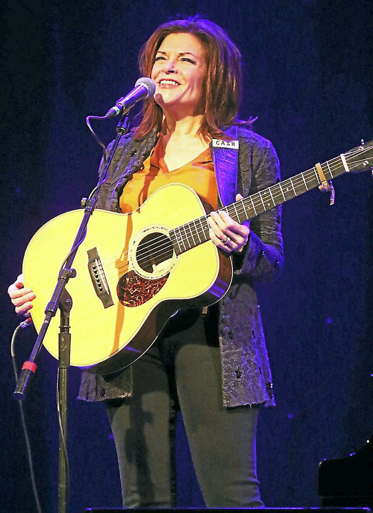 """Photo by John AtashianSinger, songwriter and author, Rosanne Cash, is shown performing on stage at the Infinity Music Hall in Hartford during her appearance on April 8. Cash, along with her husband and guitarist John Leventhal, entertained the capacity crowd with songs from her latest award winning album, """"The River & the Thread"""" and much more. To view more great shows coming to the Infinity Music Hall in Hartford and Norfolk you can visit www.infinityhall.com"""