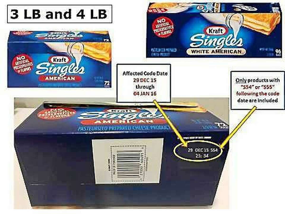 A package of cheese product slices with the date and production code included in the recall. Kraft said Friday night it is recalling the slices because of a potential choking hazard.