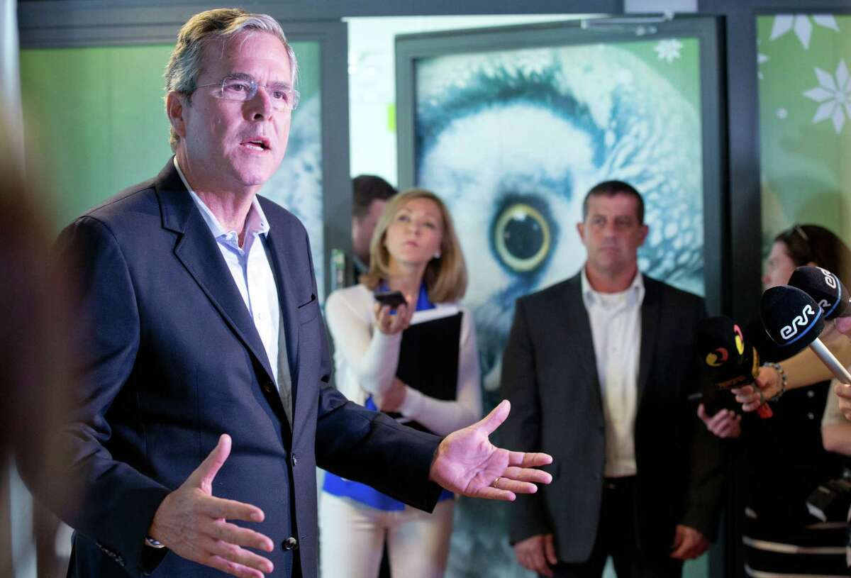 Former Florida Gov. Jeb Bush speaks to journalists at the e- Estonia Showroom during his visit in Tallinn, Estonia on June 13, 2015. Bush visits Estonia, a once-bleak Soviet state that now has a growing, free-market economy.